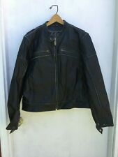 Vintage River Road Black Leather Jacket Motorcycle Biker Distressed Sz 2Xl #900