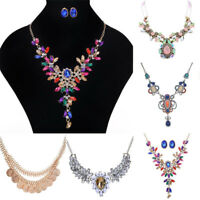 Women Fashion Rhinestone Crystal Statement Bib Pendant Choker Necklace Jewelry