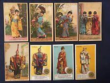 Lot of 8 color Tobacco & Trade Cards The Mikado Opera ca 1880 s - J P Coats etc