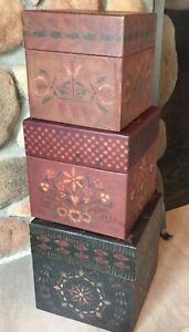 BOBS BOXES PRIMITIVE PARLOR COLORS 3 Larger nesting boxes