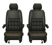 VW Transporter T6.1, T6, T5.1 Front INKA Tailored Seat Cover D.Grey Leatherette