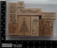 Stampin' Up! Rubber Stamps 2002 STITCHED SNOWMAN TREE BUTTONS ANGEL STOCKING