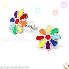 Große Multicolor Blume Ohrstecker 925 Echt Silber Kinder Geschenkidee S-002