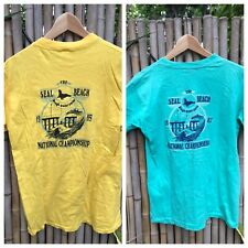 Seal Beach Ca 1985 1987 Rough Water Swim Vintage T Shirt Single Stitch Lot Of 2