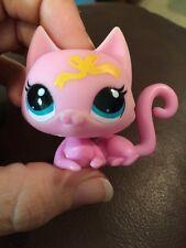 Littlest Pet Shop lot #3555 Pink Yellow Ribbon Cat w/ Tiny Blue Teddy Bear