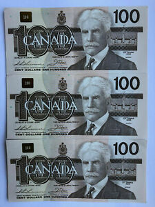 3 Bank of CANADA 1988 Consecutive Sequential Serial $100 Dollar Notes Money