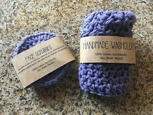 SET 100% Cotton Handmade Purple Washable Reusable Face Cloth + 3 Scrubbies