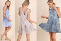 PLUS SIZE XL-1XL-2XL UMGEE GREY MAUVE or BLUE Eyelet X Back Dress/Tunic BHCS