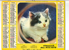 CALENDRIER, ALMANACH PTT - ANNEE 1979 - DOUX MINET (CHAT)