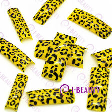 50psc Acrylic False French Nail Art Full Tips  Yellow Base Black Leopard Print