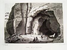 Der Kuhstall Höhle Klettern Sächsische Schweiz Sachsen alter Stahlstich 1840