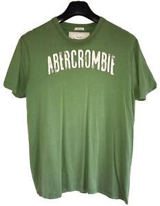 ABERCROMBIE & FITCH Premium Cotton Muscle Fit Script Tee 2XL Emerald Green VGC