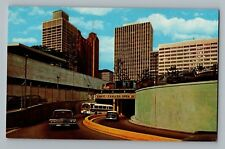 Detroit Michigan MI Detroit Windsor Tunnel To Canada Bus Cars Postcard 1950s