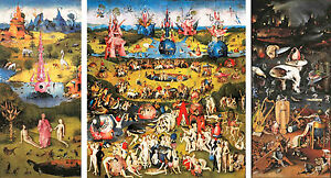 """Hieronymus Bosch """"Garden of Earthly Delights"""" on Canvas Giclee 79x43 SUPERB!!!"""