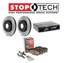 For Camaro StopTech Rear Drilled Slotted Brake Rotors PQ Metallic Pads Set Kit