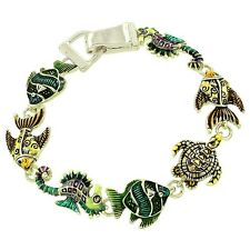 SEA LIFE Bracelet-Ocean Seahorse Fish Turtle-Magnetic-7 1/2 Inches