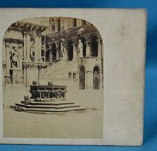 1850/60s Italy Stereoview Photo Bronze Well The Court Of The Ducal Palace Venice