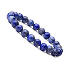 Natural 8mm Charm Lapis Lazuli Healing Crystal Stretch Beaded Bracelet Unisex