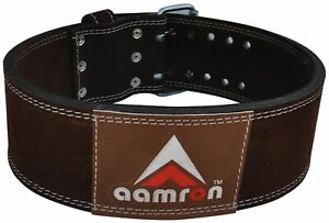 AAMRON ® LEATHER POWER BELT WEIGHT LIFTING BACK SUPPORT NU BUCK GYM DIP TRAINING