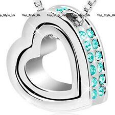 Ring & Collar De Corazón Navidad Regalos Para Ella Mujer Mamá Mujer Turquesa Cristal J216F
