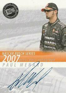 2007 Press Pass Autographs Paul Menard HTF!!