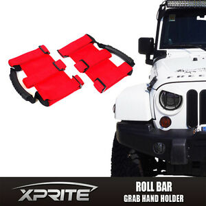 Set of 2 Ultimate Roll Bar Grip Hand Grab Handles for Jeep Wrangler OffRoad RED