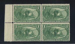 U.S. # 285, 1898  1 Cent  Block of 4  MNH  Dark Yellow Green Superb   SCV $280