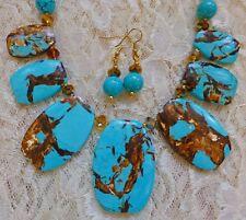 "TURQUOISE & GLASS BEAD necklace w/ 7 TURQUOISE & BRONZITE pendants, earrings 21"""