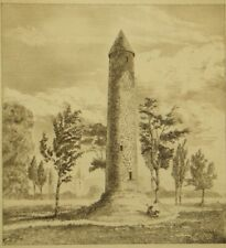 250 year old antique engraving; Round Tower, Antrim and Donaghmore; 1838