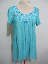 Womens Casual Cover Up DRESS / TOP Size 10 Blue S/S Floral Beach Tunic FILO