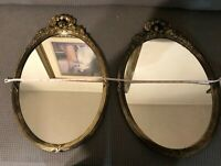 vintage oval gilded hollywood regency mirrors Homco 2143