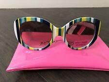 NWT Betsey Johnson Plastic Retro yellow Turq Navy Stripes Womens MOD Sunglasses