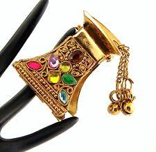 Ornate Gold Rainbow Crystal Bollywood Bridal Ethnic Hairclip Crocodile Clip Grip