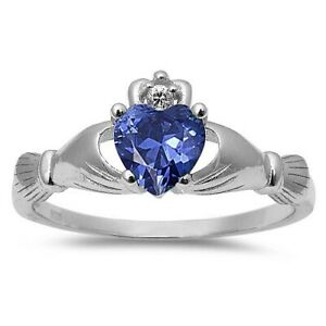 TANZANITE HEART CLADDAGH SOLID 925 STERLING SILVER SIZES 5-10
