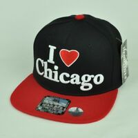 I Love Chicago City United States Black Red Hat Cap Flat Bill Snapback USA