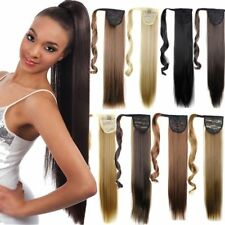 "Extra Long 18-26"" Thick Wrap Clip in Ponytail Hair Extensions Brown Blonde FO3"