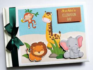 Personalised safari birthday guest book, safari baby shower guest book
