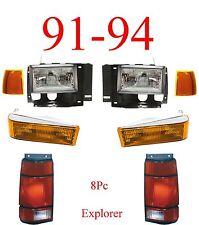 91 94 Ford Explorer 8Pc Head Light Kit W/ Parking, Side Lights & Tail Lights!