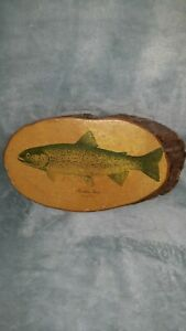 VINTAGE JAMES HEDDON'S SONS RAINBOW TROUT FISHING WOOD WALL PLAQUE vtg