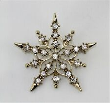 """Vintage Clear Rhinestone Gold Tone Cut Out Snowflake Pin Brooch 2 1/4"""" Diameter"""