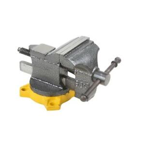 OLYMPIA Bench Vise Hardened Steel 270 Degree Swivel Lock Lever 4 in. W Jaw Face