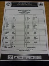 26/03/2016 Teamsheet: Germany v England. Bobfrankandelvis the ebay trading name