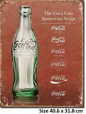 Coca Cola Script Evolution Tin Sign 1952  Made in USA Licensed- Check the size.