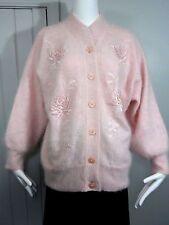 Angora Wool Pale Pink Beaded Floral Rhinestone Cardigan Fuzzy Soft Sweater Sz M