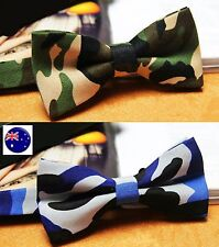 Men Camo Navy Green Army Military Camouflage Party Costume bowtie bow Necktie