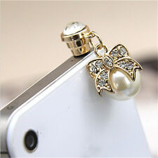 Pearl Diamond bow Earphone Jack Anti Dust Plug Cap Stopper for Cell phone