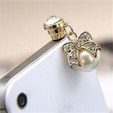 Pearl Diamond bow Earphone Jack Anti Dust Plug Cap Stopper for Cell phone