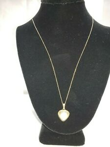 14k Yellow Gold Heart Charm with Pearl 14k Chain Necklace