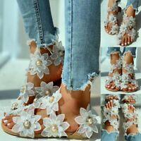 Women Toe Ring Flat Thong Flip Flops Sandals Floral Boho Summer Sandals Shoes