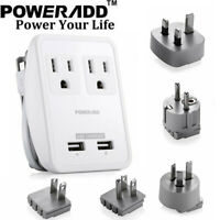 Universal Poweradd Plug Travel Adapter Converter Dual USB Charger US/AU/UK/EU/JP